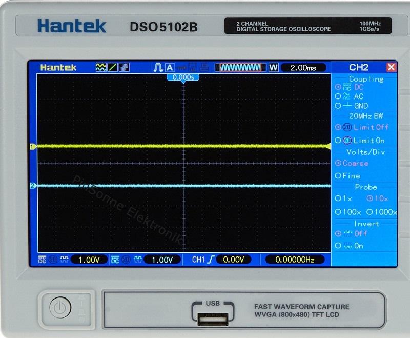 das Hantek DSO5062B, DSO1102B, DSO1202B Display und Front USB für Stick, erklärt von pinsonne-elektronik.de