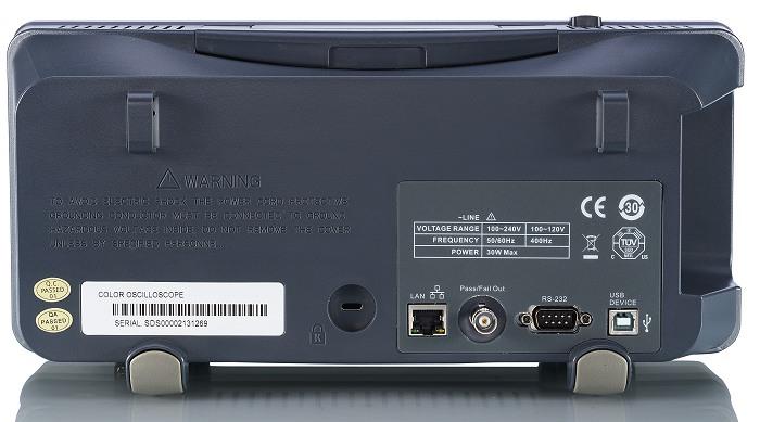 Siglent SDS1102CML+ & SDS1072CML+ & SDS1152CML+ Oszilloskop Rückseitenansicht usb lan RS232 Pass Fsil Out