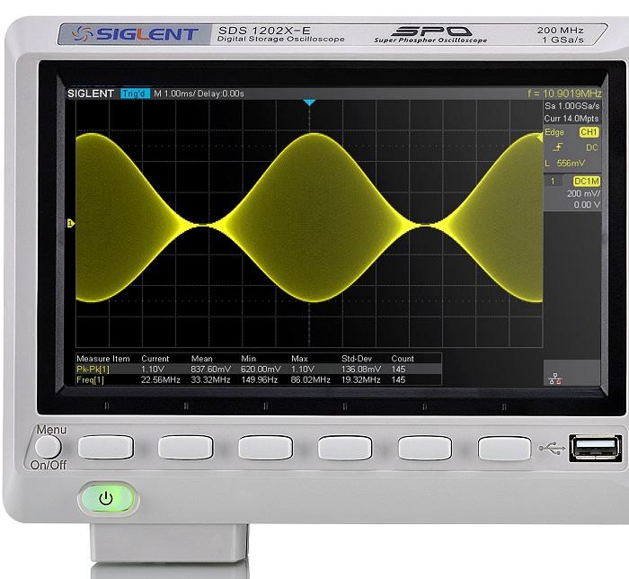 Siglent SDS1202X-E Displaybereich mit Bedientasten unterm Display