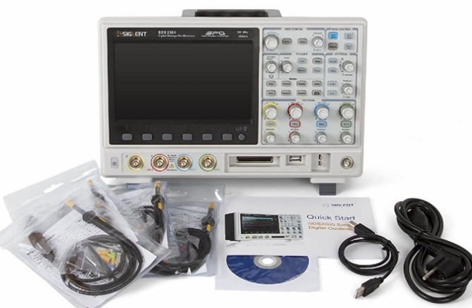 Siglent SDS2304 SDS2204 SDS2104 4CH SPO Digital Speicher Oszilloskop mit Tastkopf Quickguide Kabeln