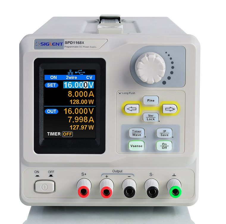 Siglent SPD1168X 0-16V 0-8A  Profi programmierbares Netzteil mit USB, Auflösung 10mV 10mA, Ansicht schräg von links