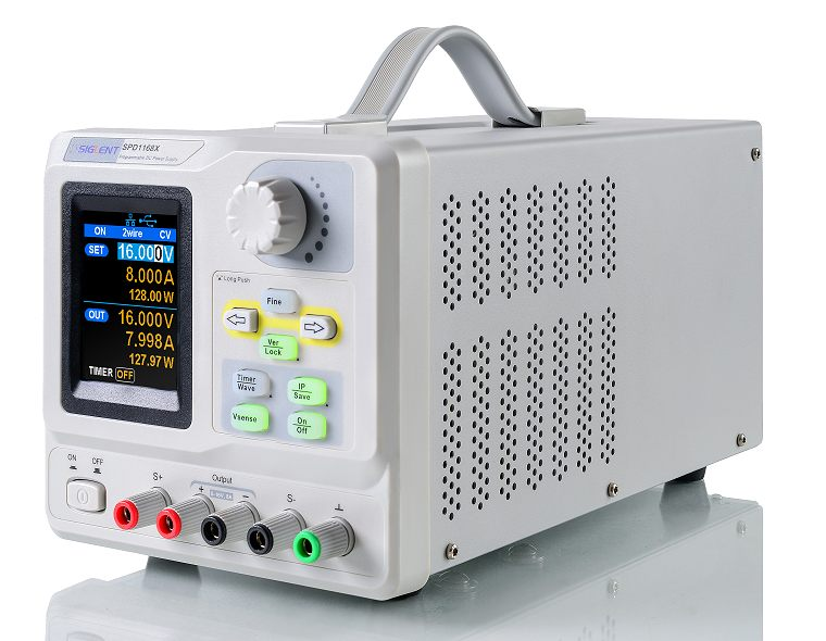 Siglent SPD1168X 0-16V 0-8A  Profi programmierbares Netzteil mit USB, Auflösung 1mV 1mA, Ansicht schräg von links