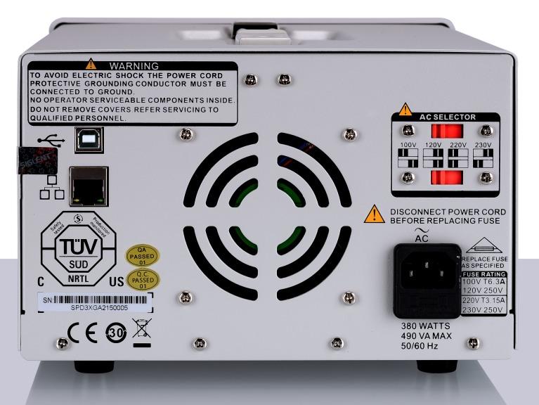 Siglent SPD3303X 2x32V 3.2A  Profi programmierbares Profi Netzteil mit LAN USB, Auflösung 1mV 1mA, Ansicht auf Rückseite des Gerätes