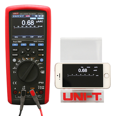 uni-t ut181a mit Bluetooth Adapter auf Smartphone