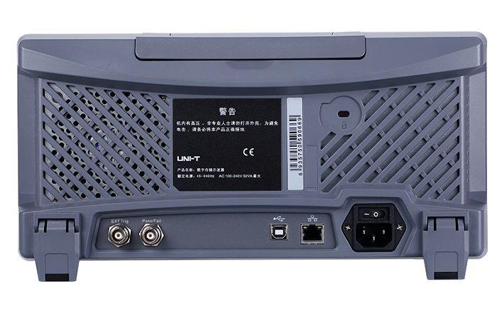 Uni-T UPO2074CS Rückseite mit Anschlüssen USB LAN IO Pass Fail Output