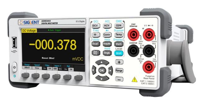 Siglent SDM3055 schräg von vorn 5 1/2 100kHz TRMS SCPI USB LAN PC-Software