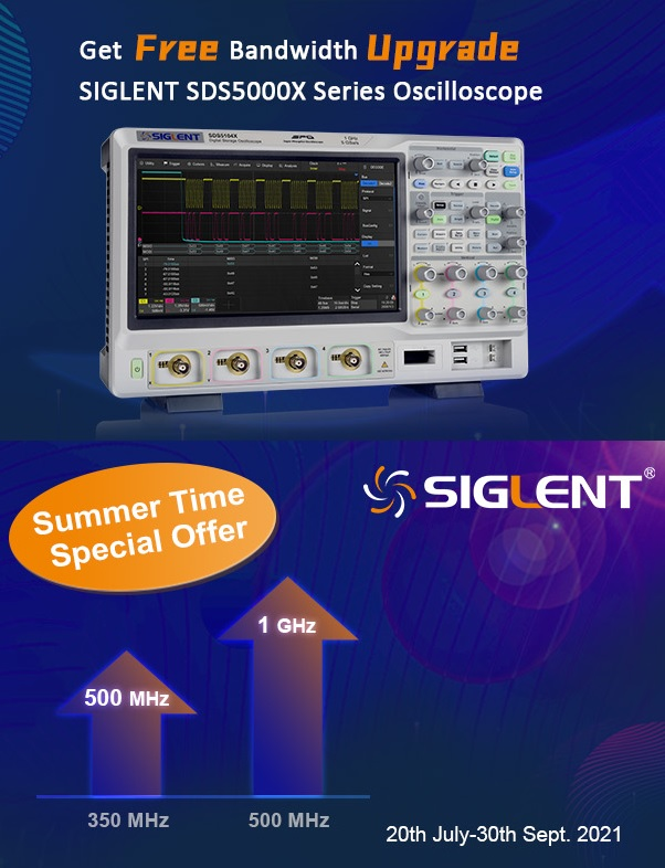 Siglent SDS5000X summer time special Bandwith upgrade