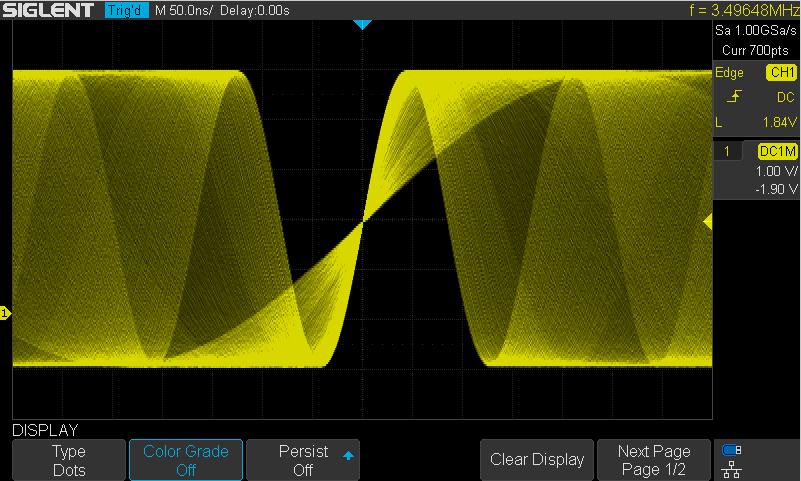 Intens, Signalhelligkeitsdarstellung, Siglent SDS1104X-E, SDS1204X-E 200MHz 4CH Digital Speicher Oszilloskop 1GSA 14Mpoints 100.000wrfms seq. Speicher