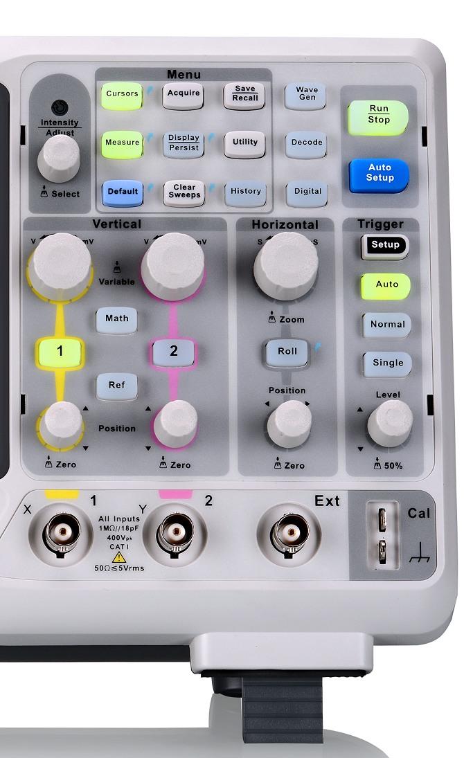 Siglent SDS1102X & SDS1000X Serie Oszilloskop Bedienfeld, Drehgeber Buttons