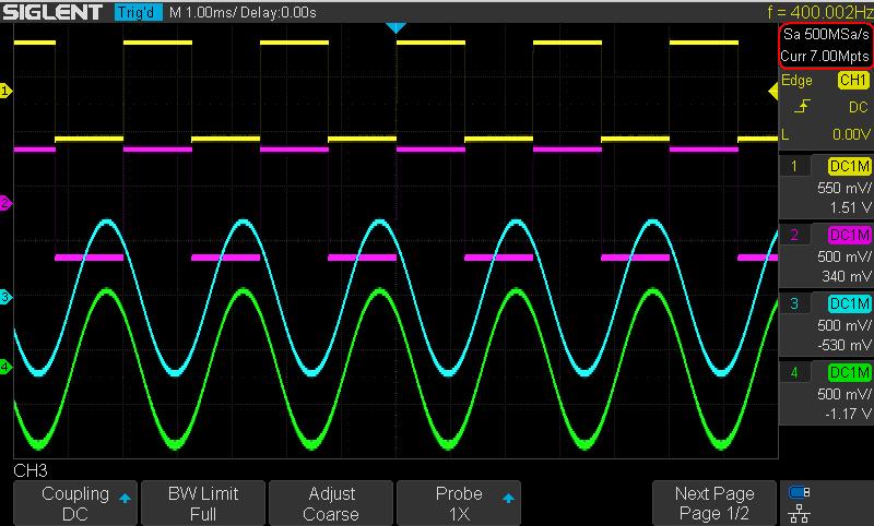 Siglent SDS1104X-E, SDS1204X-E 200MHz 4CH Digital Speicher Oszilloskop 1GSA 14Mpoints 100.000wrfms seq. Speicher