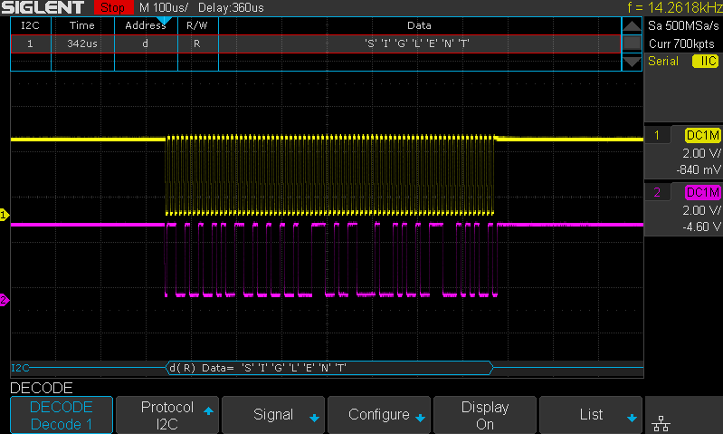 Bus, serielle Busanalyse, Siglent SDS1104X-E, SDS1204X-E 200MHz 4CH Digital Speicher Oszilloskop 1GSA 14Mpoints 100.000wrfms seq. Speicher