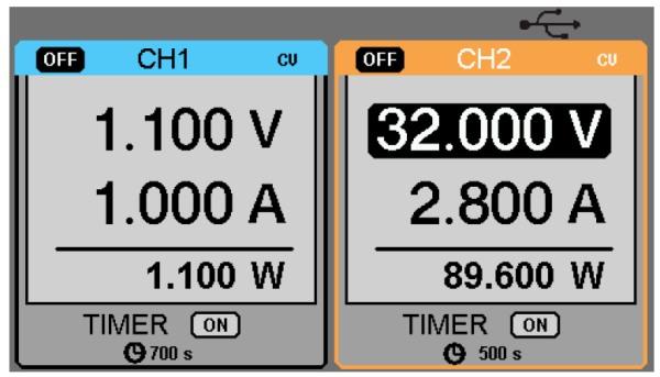 Siglent SPD3303S 2x30V 3A  Profi programmierbares Netzteil mit USB, Auflösung 1mV 1mA, Displayansicht Timerbetrieb , groß