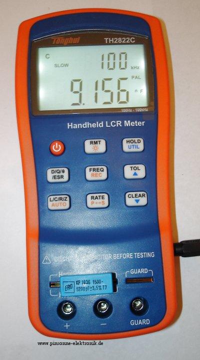 Tonghui TH2822C, Messung eines 9.2nF Kondensators mit 100kHz direkt am Gerät
