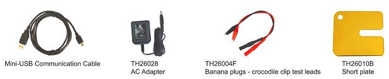 Tonghui TH2822C Zubehör im Lieferumfang, Mini USB Kabel, Steckernetzteil, 2 Leiter Banannenmesskabel, Kurzschlussplatte zum Geräteabgleich, erklärt von pinsonne-elektronik.de