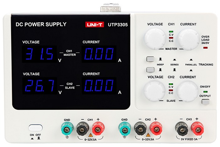 Uni-T UTP3305 0-32V 0-5A dc regulated power supply front view