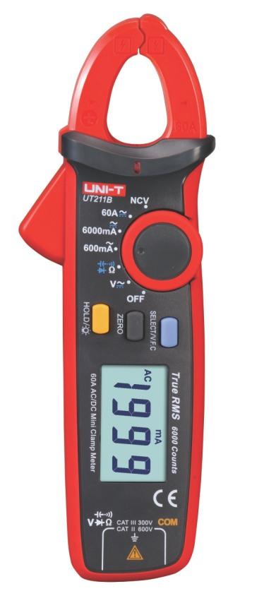 Uni-T UT211B DC AC TRMS Strom Zangenmultimeter Breiche 600.0mA 6000mA 60.00A , große Abbildung bis 17mm Kabel, mit VFC NCV