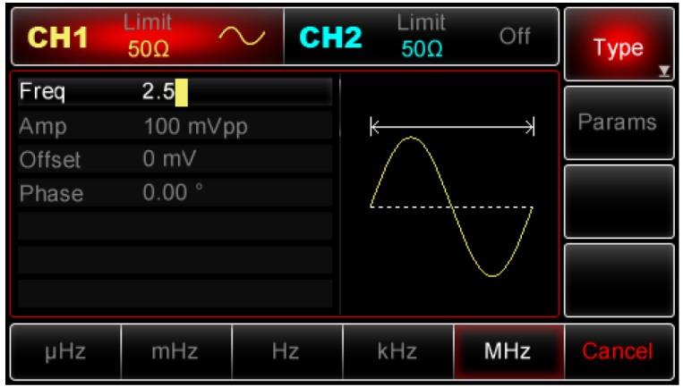 Die Bedienung, Eingabe Frequenz, Spannung Offset Phase vom Uni-T UTG2062A 60MHz und UTG2025A 25MHz 2CH DDS Arbitary Funktions Generator erklärt