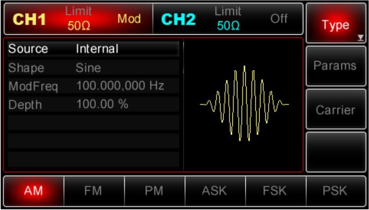 Die Bedienung, Eingabe Signal Modulationsarten vom Uni-T UTG2062A 60MHz und UTG2025A 25MHz 2CH DDS Arbitary Funktions Generator erklärt