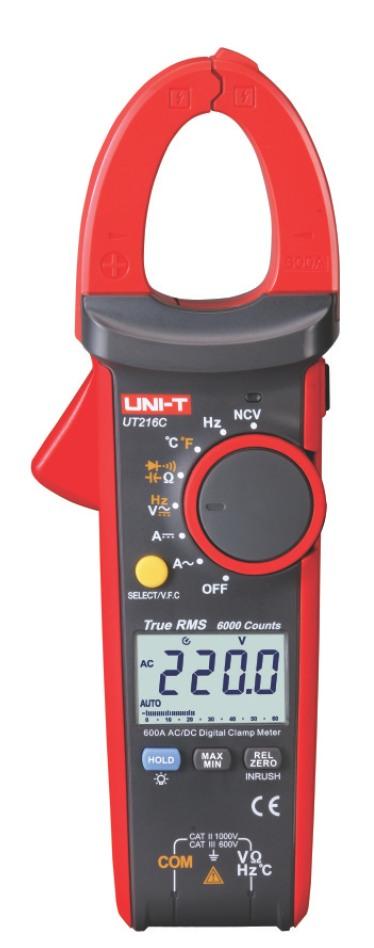 Uni-T UT216C 30mm  DC AC TRMS Strom Zangenmultimeter groß NCV VFC Diasplay Beleuchtung, mit Zangen Zusatzled