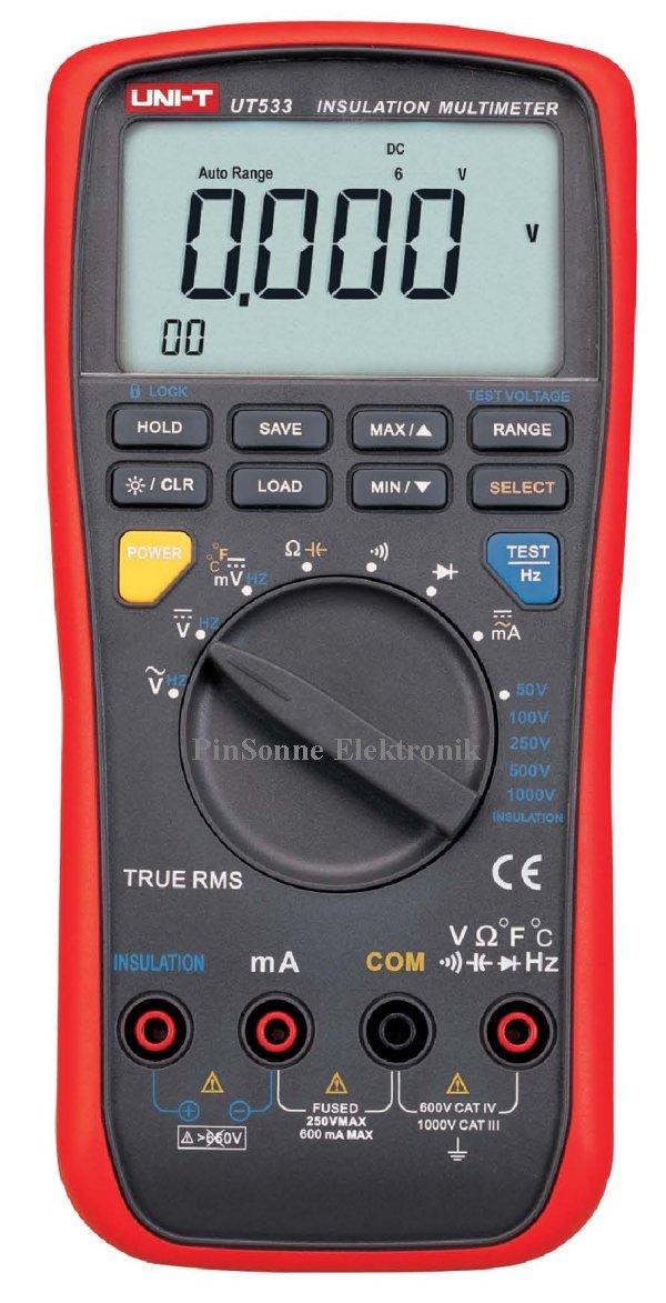 Uni-T UT533 TRMS Multimeter und Isolationstester mit wählweise 50V 100V 250V, 500V 1000V Testspannung