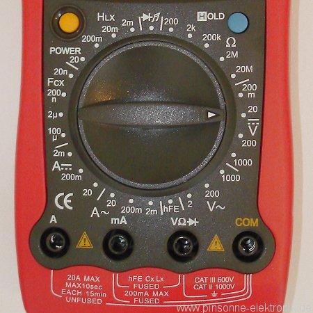 Uni-T UT58D Foto von Buchsen, Einstelldrehrad für die Messbereiche