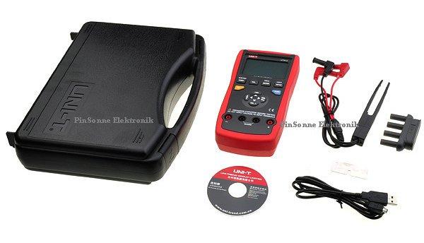 Uni-T LCR meter UT612 mit Koffer CD USB Kabel, Messpinzette, Aufsteckadapter