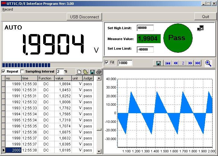 Uni-T UT71C UT71D UT71E PC software in use DC Spannung aufzeichnen