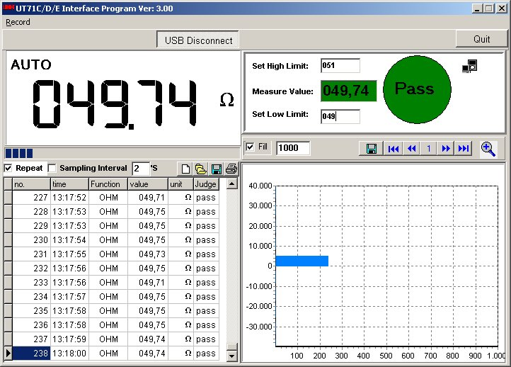 Uni-T UT71C UT71D UT71E PC software in use Widerstandsmessung